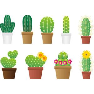 フリーイラスト, ベクター画像, AI, 植物, 多肉植物, サボテン, 植木鉢