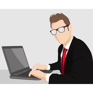 フリーイラスト, ベクター画像, EPS, 人物, 男性, 職業, ビジネス, 仕事, ビジネスマン, パソコン(PC), ノートパソコン, デスクワーク, 眼鏡(メガネ), メンズスーツ