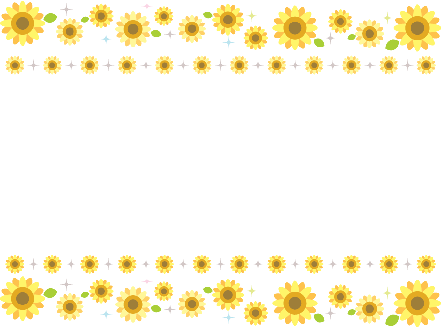 フリーイラスト ヒマワリの花の飾り枠