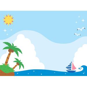 フリーイラスト, ベクター画像, AI, 風景, 夏, 海, 椰子(ヤシ), 南国, 島, 積乱雲(入道雲), 鴎(カモメ), ヨット, 太陽