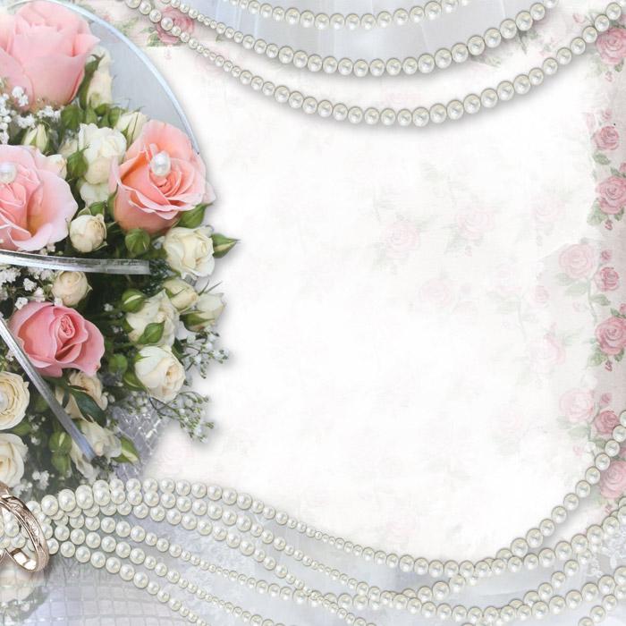 フリー写真 ブーケと結婚指輪と真珠のフレーム