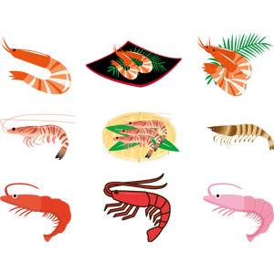 フリーイラスト, ベクター画像, AI, 動物, 甲殻類, 海老(エビ), クルマエビ, 食べ物(食料), 魚介料理