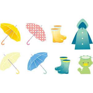 フリーイラスト, ベクター画像, EPS, 雨具, 傘, カッパ(レインコート), 長靴, 河童(カッパ), 妖怪, 6月, 梅雨