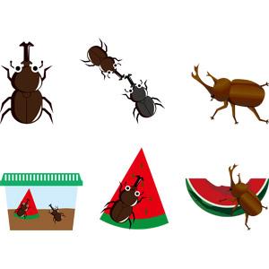 フリーイラスト, ベクター画像, AI, 動物, 昆虫, カブトムシ, 西瓜(スイカ), 食べる(動物), 虫かご, 夏