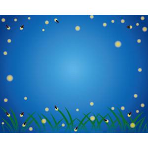 フリーイラスト, ベクター画像, AI, 背景, フレーム, 囲みフレーム, 動物, 昆虫, 蛍(ホタル), 夏, 夜, 光(ライト)