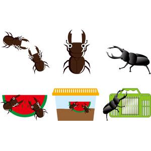 フリーイラスト, ベクター画像, AI, 動物, 昆虫, クワガタムシ, 夏, 虫かご