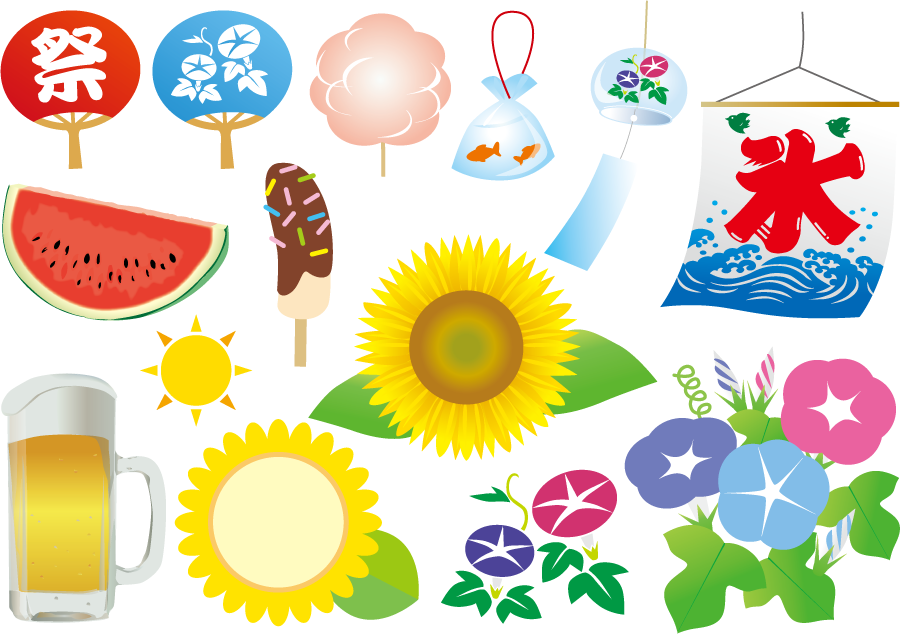 フリーイラスト 氷旗やうちわなど夏関連のセット