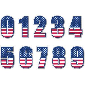 フリーイラスト, ベクター画像, AI, 数字, 0(零), 1(一), 2(二), 3(三), 4(四), 5(五), 6(六), 7(七), 8(八), 9(九), アメリカの国旗(星条旗)