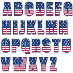 フリーイラスト, ベクター画像, AI, 文字, アルファベット, アメリカの国旗(星条旗)