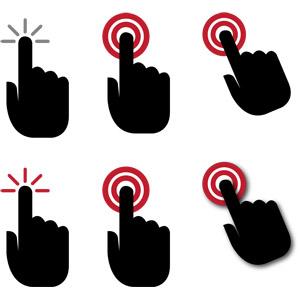 フリーイラスト, ベクター画像, AI, 人体, 手, シルエット(人体), タッチ操作, ユーザインタフェース, クリック