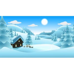 フリーイラスト, ベクター画像, EPS, 風景, 雪, 冬, 山小屋, 小屋(納屋)