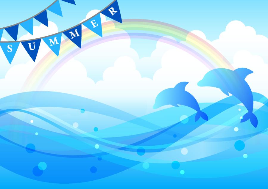 フリーイラスト 虹と海とイルカの夏の背景