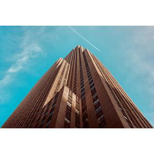 フリー写真, 風景, 建造物, 建築物, 高層ビル, ロックフェラー・センター, 青空, 飛行機雲, アメリカの風景, ニューヨーク