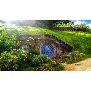 フリー写真, 風景, 建造物, 建築物, 映画のセット, ホビット, 映画, ニュージーランドの風景, ホビトン・ムービーセット, 太陽光(日光)