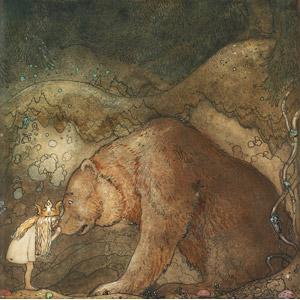 フリー絵画, ヨン・バウエル, 物語画, 妖精(フェアリー), 熊(クマ), キス(口づけ), 動物画