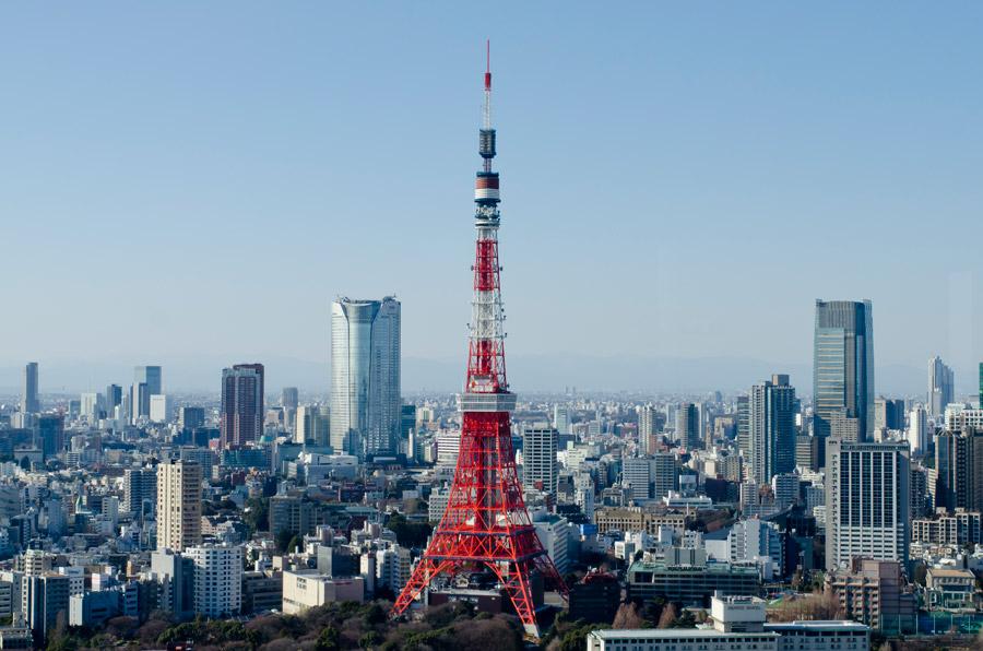 フリー写真 東京タワーと東京都の都市風景