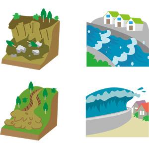 フリーイラスト, ベクター画像, AI, 災害, 自然災害, 土砂災害, 地震, 津波, 洪水, 堤防