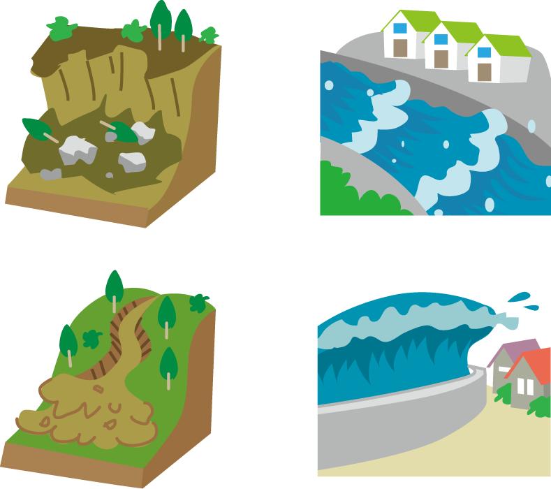 フリーイラスト 土砂崩れや洪水や津波などの自然災害のセット