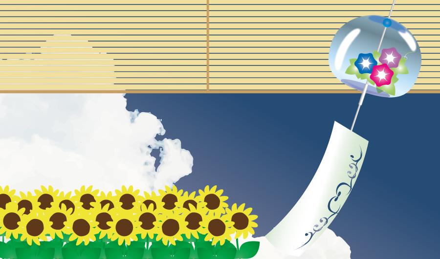 フリーイラスト 風鈴とすだれとひまわりの花