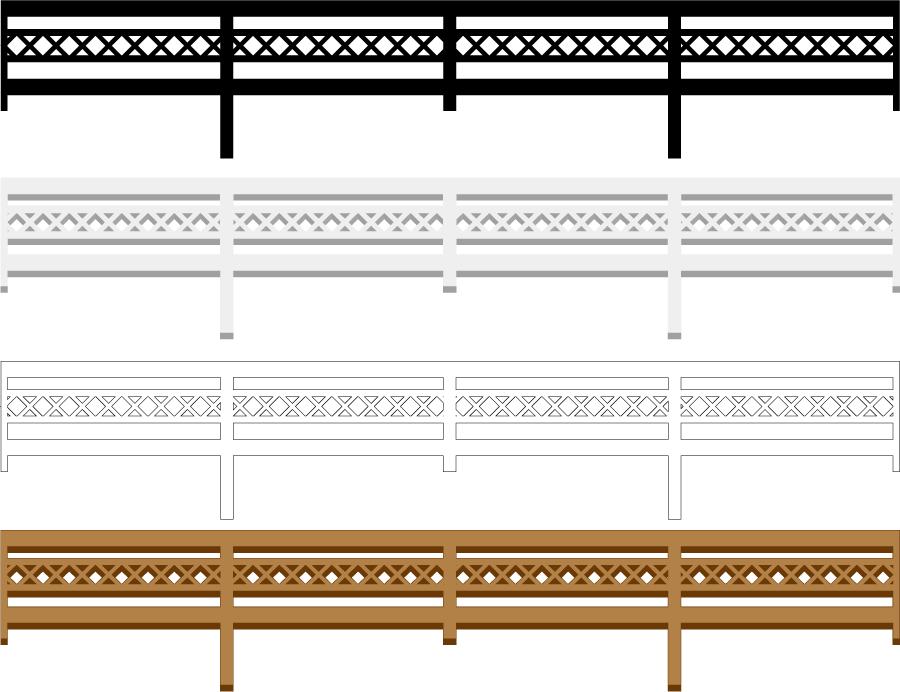 フリーイラスト 4種類の柵のライン