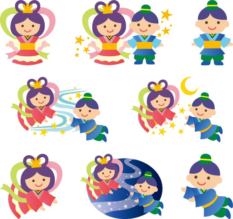 フリーイラスト 8種類の織姫と彦星のセット