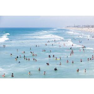 フリー写真, 人と風景, 人込み(人混み), 海水浴, 海, ビーチ(砂浜), アメリカの風景, カリフォルニア州, レジャー
