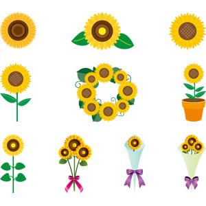 フリーイラスト, ベクター画像, AI, 植物, 花, 向日葵(ヒマワリ), 黄色の花, 夏, リース, 花束
