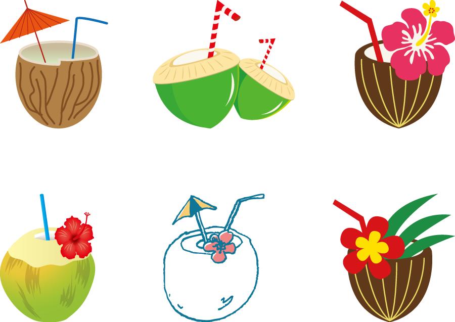 フリーイラスト 6種類のココナッツジュースのセット