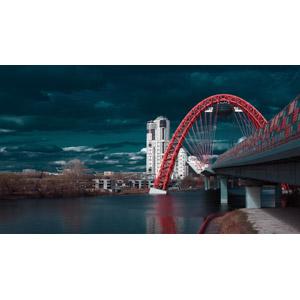 フリー写真, 風景, 建造物, 建築物, 河川, 橋, ロシアの風景, モスクワ