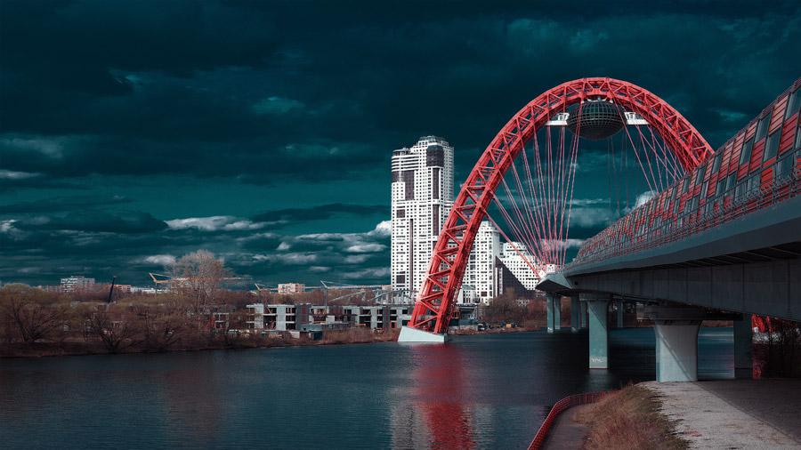 フリー写真 モスクワ川とジヴォピスニー橋の風景