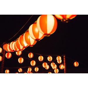 フリー写真, 夜, 年中行事, 照明器具, 提灯, お祭り, 夏祭り