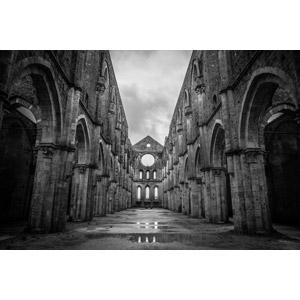 フリー写真, 風景, 建造物, 建築物, 修道院, 廃墟, サン・ガルガーノ修道院, イタリアの風景, トスカーナ州, モノクロ