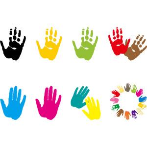 フリーイラスト, ベクター画像, AI, 人体, 手, 手形(手型), 円形フレーム