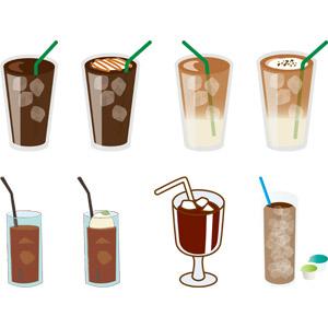 フリーイラスト, ベクター画像, AI, 飲み物(飲料), コーヒー(珈琲), アイスコーヒー, カフェラテ(カフェ・ラッテ)