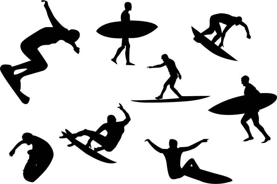 フリーイラスト 8種類のサーファーのシルエットのセット