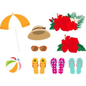 フリーイラスト, ベクター画像, AI, 夏, リゾート, バケーション, ビーチパラソル, ビーチボール, 麦わら帽子, サングラス, ビーチサンダル, ハイビスカス