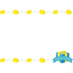 フリーイラスト, ベクター画像, AI, 背景, フレーム, 上下フレーム, 年中行事, 父の日, 6月, プレゼント, 薔薇(バラ), 黄色の花