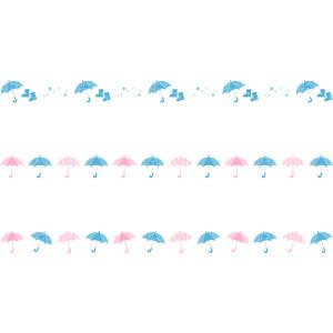 フリーイラスト, ベクター画像, AI, 飾り罫線(ライン), 6月, 梅雨, 雨具, 傘, 雨, 長靴