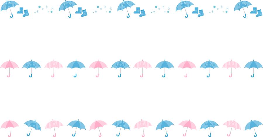 フリーイラスト 3種類の傘のラインのセット