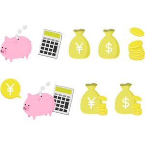フリーイラスト, ベクター画像, AI, お金, ドル袋, 金貨, 円袋, 貯金箱, 電卓
