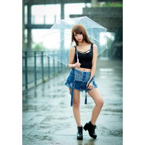 フリー写真, 人物, 女性, アジア人女性, 中国人, kimi雅涵(00192), 雨, 傘