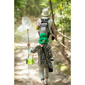 フリー写真, 人物, 親子, 子供, 二人, 後ろ姿, 昆虫採集, 虫取り網(虫捕り網), 夏休み, 虫かご, 夏