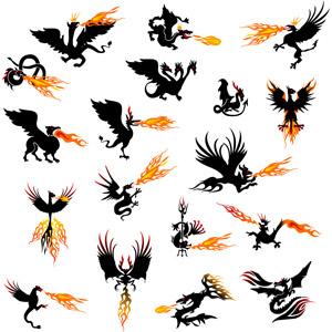 フリーイラスト, ベクター画像, AI, 神話・伝説の生物, 龍(竜), 火の鳥(フェニックス), グリフォン, 怪獣, 火(炎)