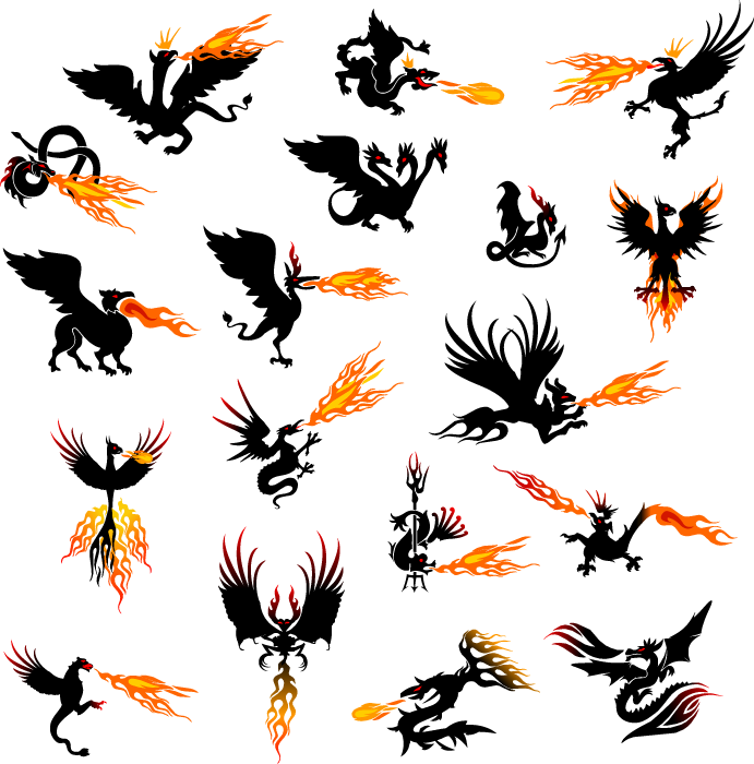 フリーイラスト 火を吐くドラゴンやフェニックスなどの幻獣のセット