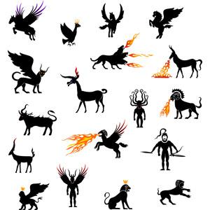 フリーイラスト, ベクター画像, AI, 神話・伝説の生物, 怪獣, 火(炎), ペガサス(天馬), ケルベロス, ヒッポグリフ, キマイラ(キメラ), スフィンクス, バハムート, 神話, ギリシア神話, キュクロープス(サイクロプス)
