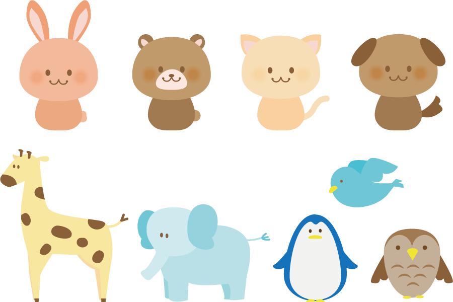 フリーイラスト キリンやゾウなどの9種類の動物のセット