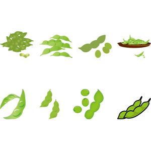 フリーイラスト, ベクター画像, 食べ物(食料), 飲み物(飲料), 野菜, 豆(マメ), 枝豆(えだまめ)