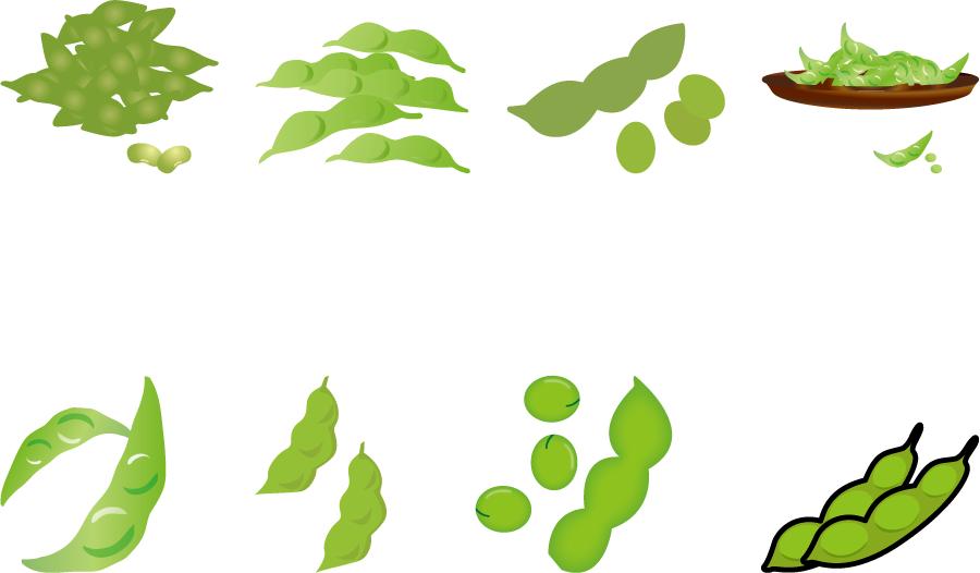 フリーイラスト 8種類の枝豆のセット