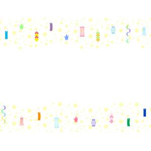 フリーイラスト, ベクター画像, AI, 背景, フレーム, 上下フレーム, 年中行事, 七夕, 7月, 短冊, 星(スター), 天の川, 輪つなぎ, ひし形つなぎ, 吹き流し, 折り鶴(折鶴)