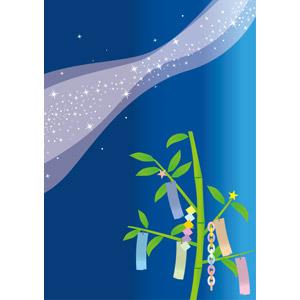 フリーイラスト, ベクター画像, AI, 背景, 年中行事, 七夕, 7月, 短冊, 星(スター), 天の川, 夜, 夜空, 輪つなぎ, ひし形つなぎ, 笹飾り